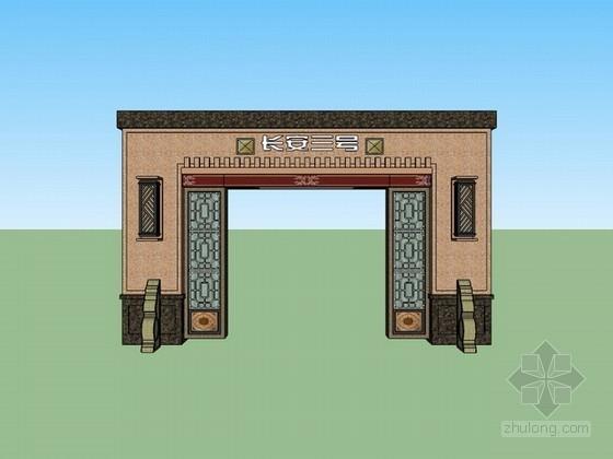 现代中式门头sketchup模型