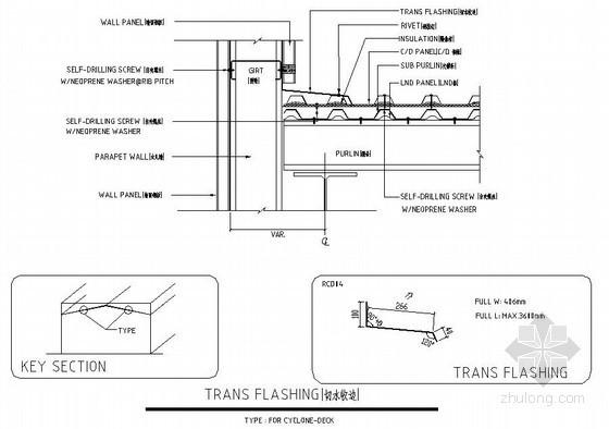 [中英]钢结构厂房围护系统双层板收边节点详图