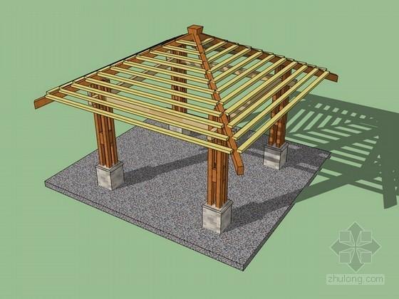 木结构亭子sketchup模型下载
