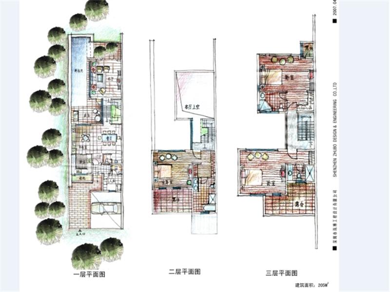 [广东]手绘风格住宅,会所,幼儿园,中学建筑平面图图片