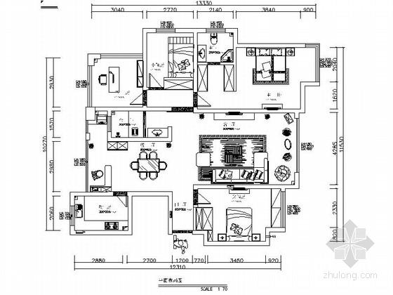 [重庆]温馨现代简约四居室装修设计施工图(含效果)