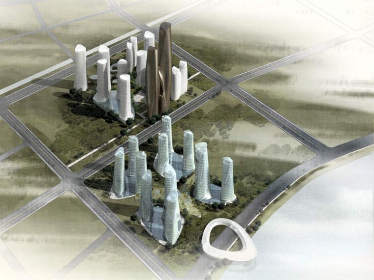 时尚商业办公大楼3D模型下载-鸟瞰