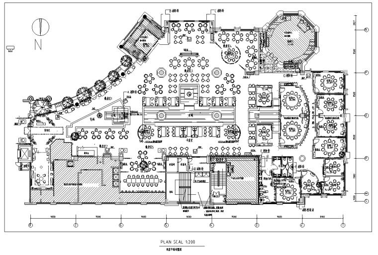 世贸天街沸腾鱼乡餐馆装修设计施工图