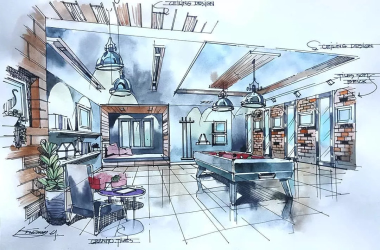 室内手绘水彩技法表现!_16