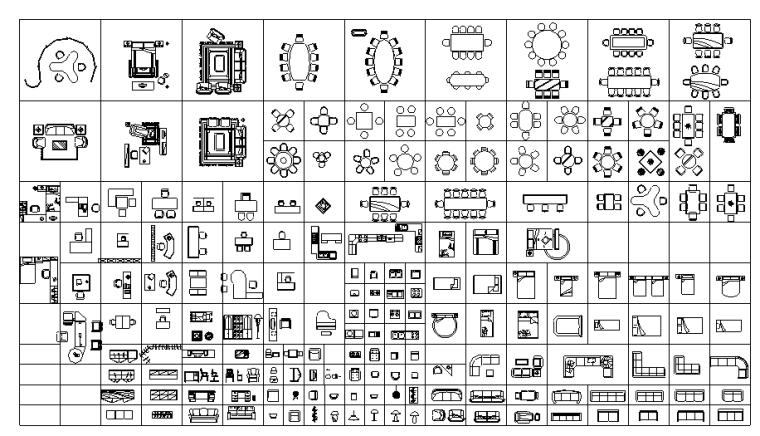 CAD室内常用家装图块、花铺地图块
