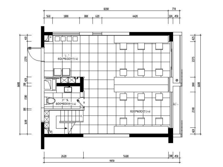 现代风格复式办公室设计CAD施工图(含效果图)