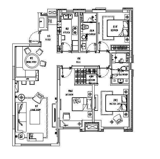 [辽宁]古典英伦风样板房设计施工图(附效果图)