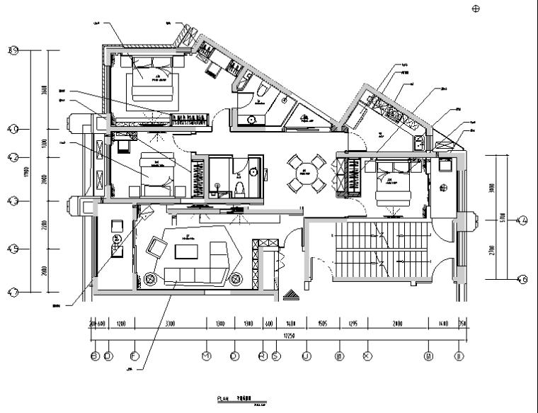 [河北]石家庄新源燕府三居室样板间设计施工图(附效果图)