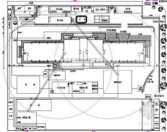 [陕西]办公楼施工现场平面布置图(基础、结构、装修)