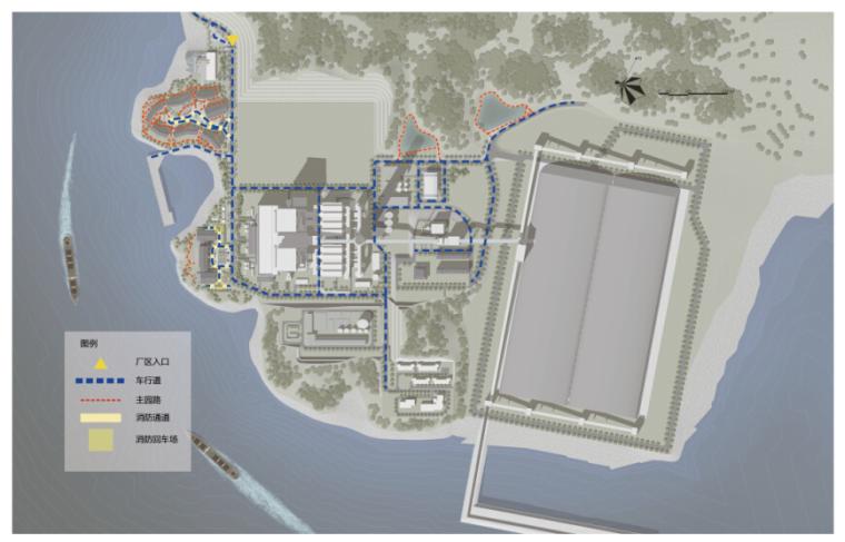 """[福建]""""碧海青山""""乐活文化电厂景观规划设计文本(效果图精美)-交通流线分析"""