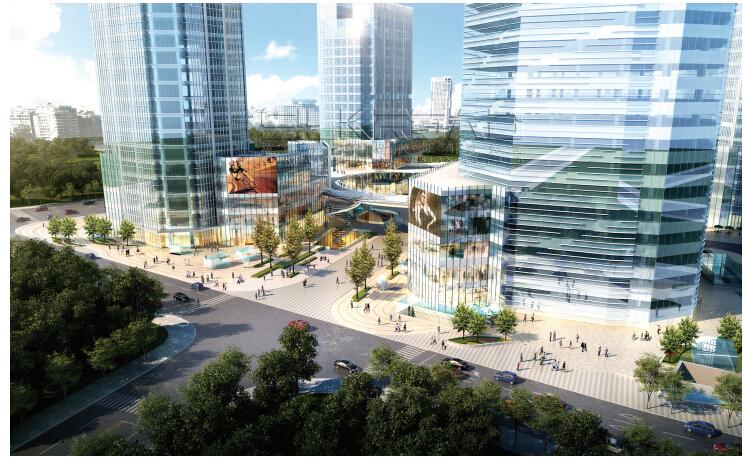 [浙江]休闲开放商业绿地景观概念设计-全区鸟瞰图