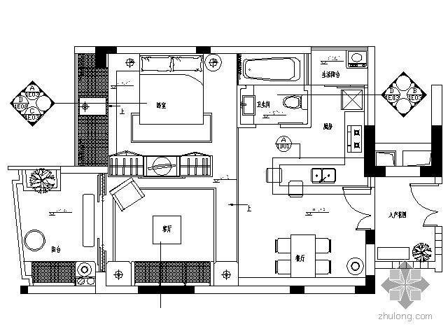 [三亚]小户型样板房施工图(含效果)