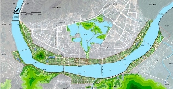 沿江生态宜居城市规划总平面图