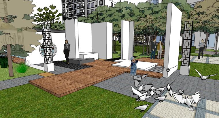 新中式小区景观SU模型——娱乐活动场地