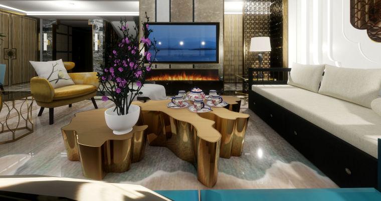 豪华loft室内设计客餐厅模型设计(2018年)-X 9