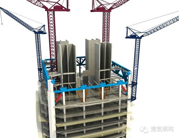 建筑结构丨超高层建筑钢结构施工流程三维效果图_12