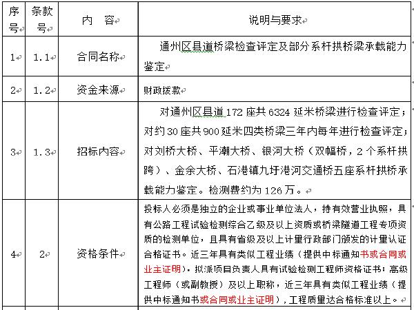 [江苏]系杆拱等桥梁结构分析招标文件