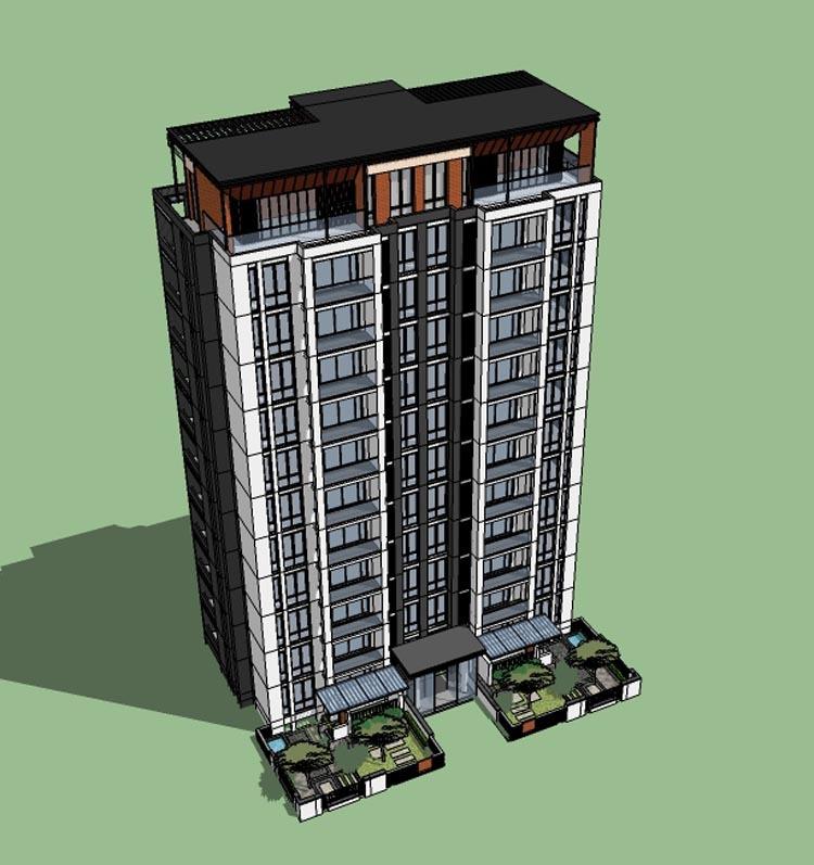 10套新中式高层住宅SU精模