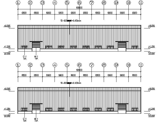 68X210m门式刚架厂房钢结构工程施工图(CAD,14张)