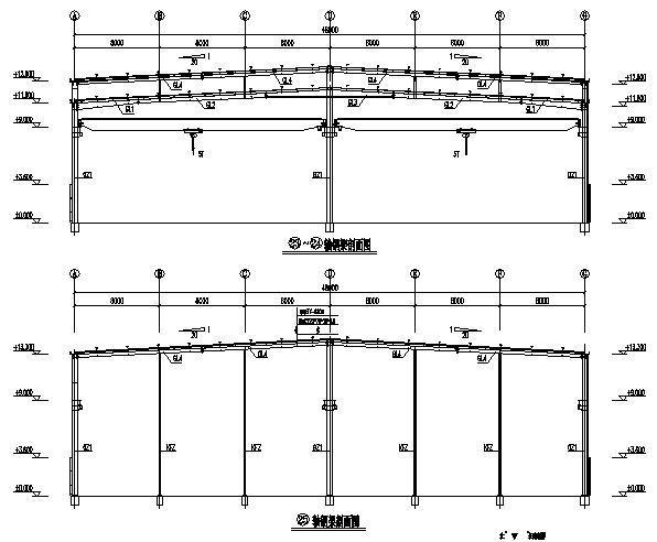 湖北双跨门式刚架钢结构工程施工图(cad,12张)cad无法图纸块v工程图片