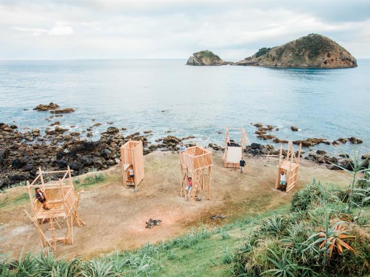 葡萄牙小岛上的木塔装置