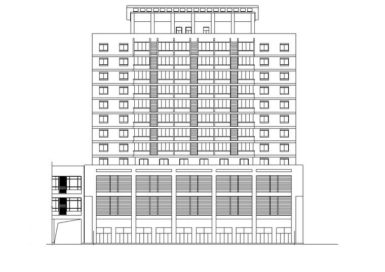 12层商业办公综合楼建筑设计(方案CAD)