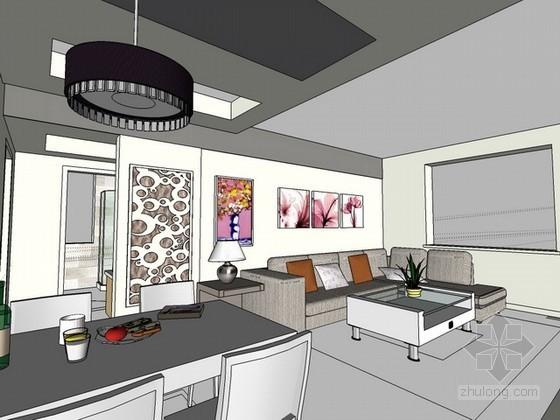 室内场景简约风格sketchup模型下载