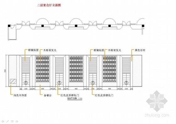[上海]中心商业圈四星级现代风格酒店室内设计概念方案宴会厅立面图