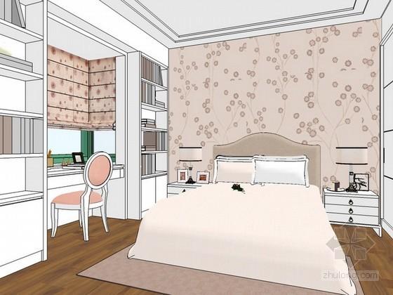 美式卧室sketchup模型下载