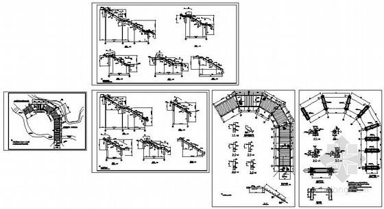 某山亭楼梯-梁式楼梯节点构造详图