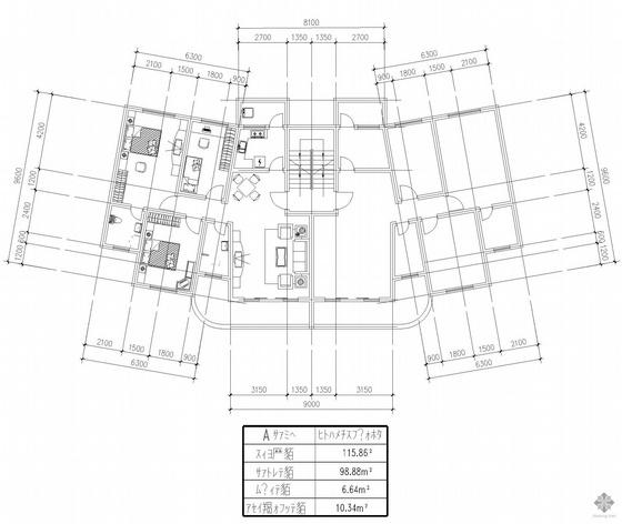 塔式多层一梯二户户型图(116/99)