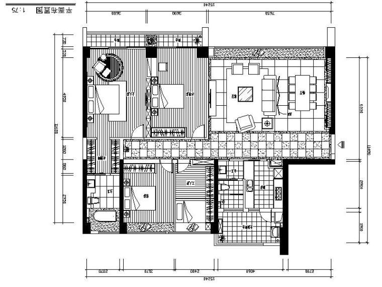[珠海]知名房地产豪宅样板房室内设计施工图(含效果图)