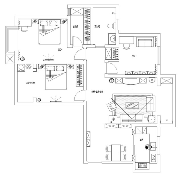 中海锦苑129平三室两厅装修效果图唯美轻美式_5
