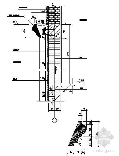 干挂石材幕墙节点图(4.60墙身线条)