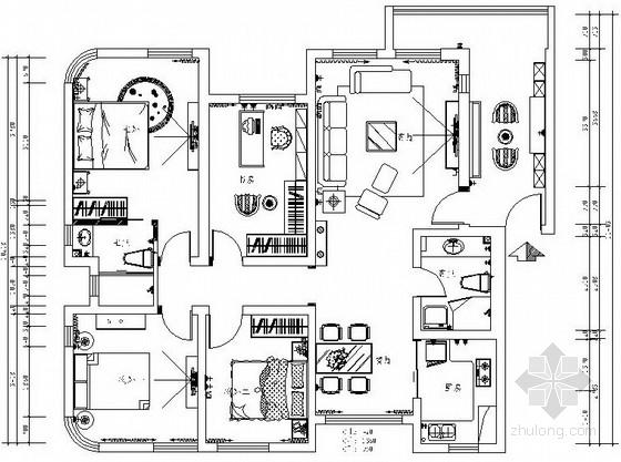 豪华简欧三居室室内设计CAD施工图(含效果图)