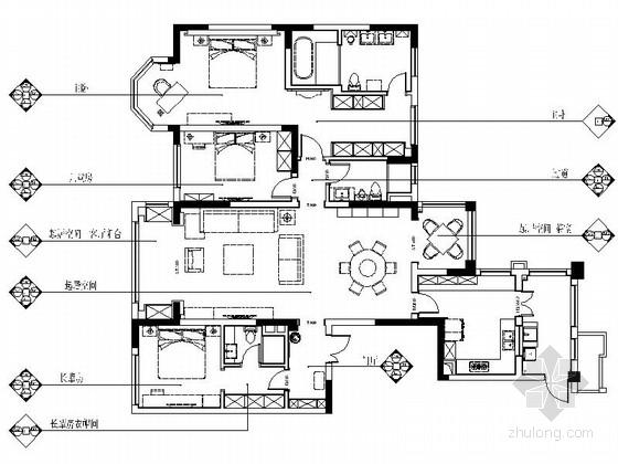 [成都]现代中式三居室住宅室内设计全套装修图(含效果)