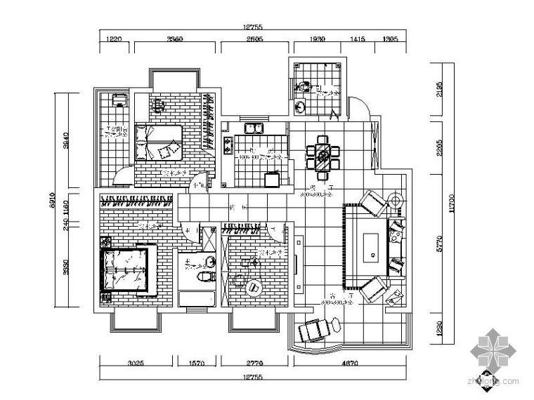 新柳楼三室两厅居家设计方案