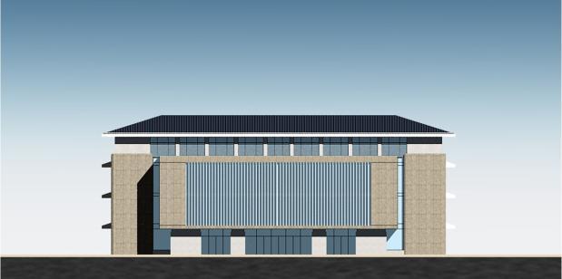 [安徽]高层新中式风格坡顶党校建筑设计方案文本-高层新中式风格坡顶党校建筑立面图