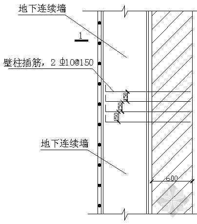 壁柱和地连墙连接示意图