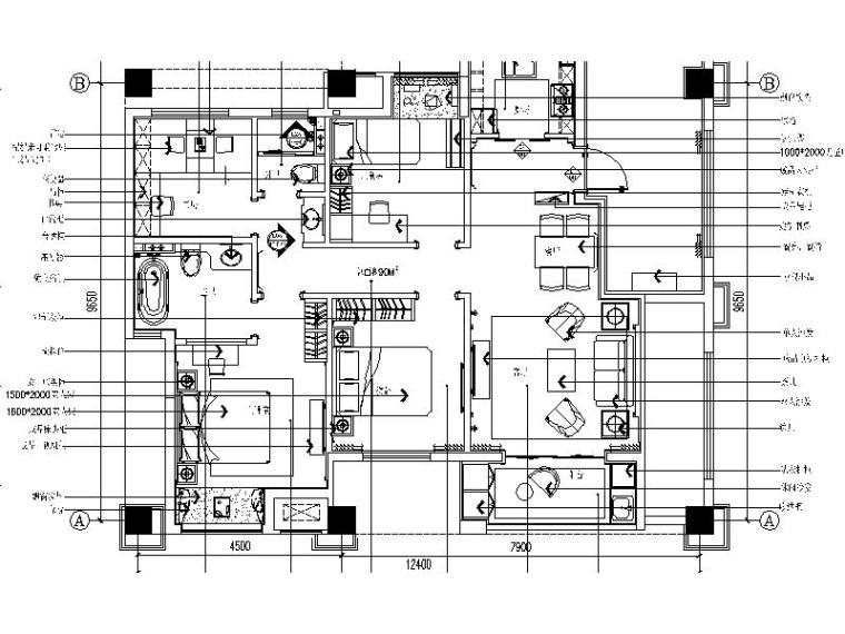 [苏州]欧式简约温馨大户型样板房施工图(含效果图)