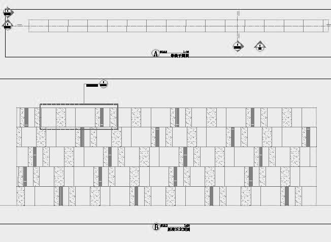 四川成都金色海蓉景观设计施工图-设计详图景墙平面立面图