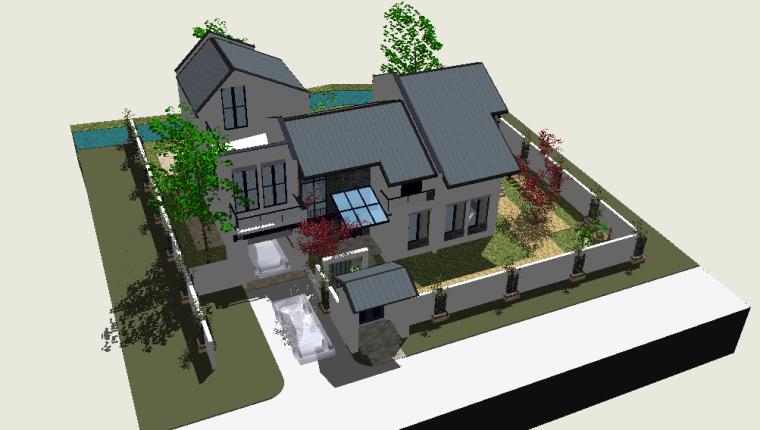 现代中式庭院景观设计模型下载
