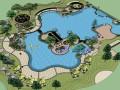 欧式室外游泳池景观SU模型