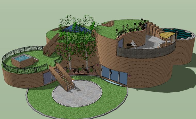 圆形庭院景观特色设计模型