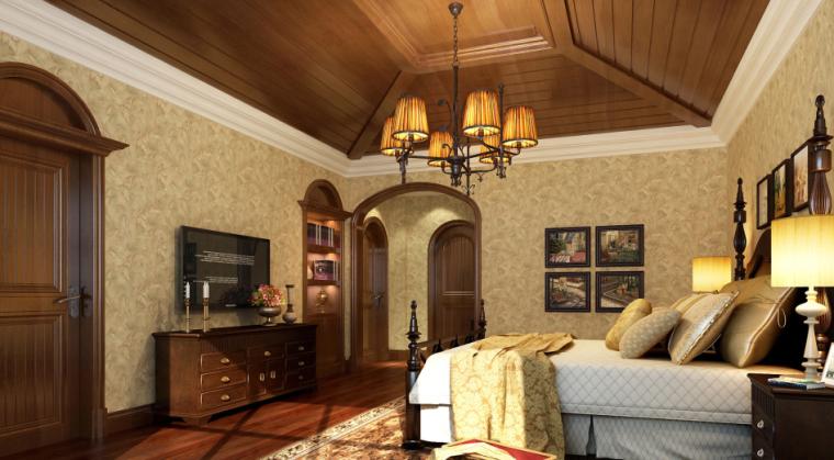 [江苏]500平美式古典别墅设计CAD施工图(含效果图)-【江苏】500平美式古典别墅设计CAD施工图(含效果图)效果图