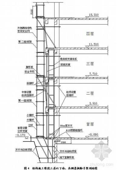 北京某科研楼脚手架施工方案(双排单立杆悬挑 双排单立杆落地)
