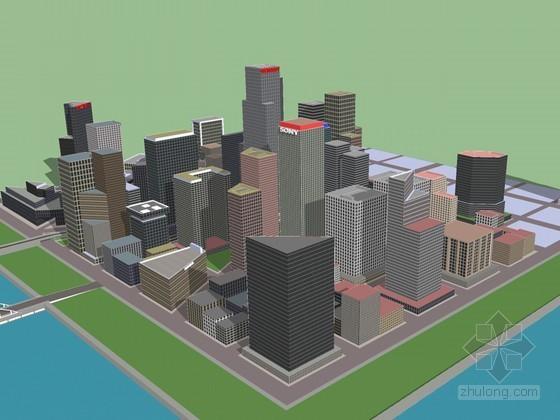 商业区建筑SketchUp模型下载