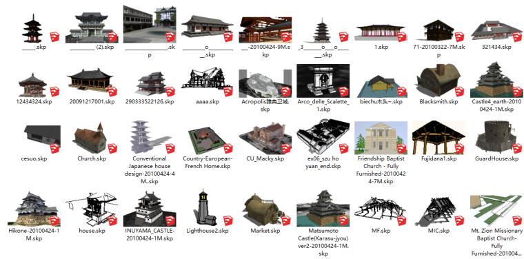 180套古建筑SU模型