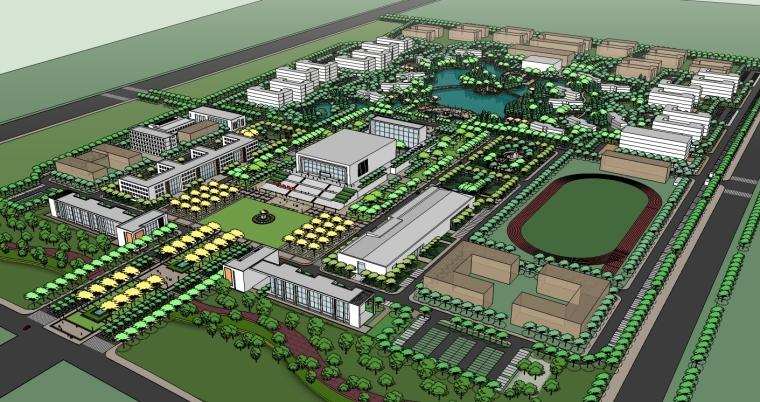 精现代风格学校规划建筑设计SU模型