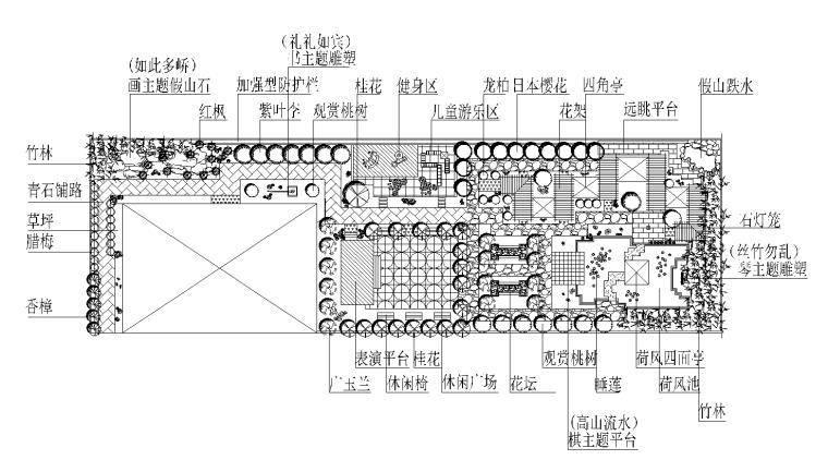 36套屋顶花园景观CAD平面图(各类型的屋顶花园)31-36